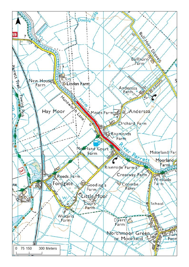 Map showing where 750m of River Parrett dredged in 2016, using SRA funding