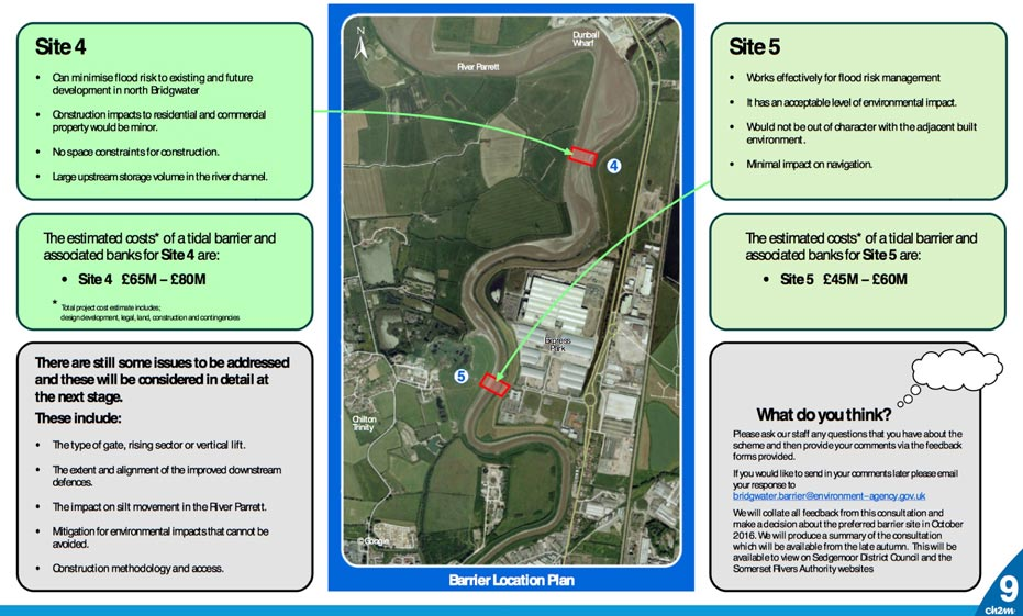 Aerial view of possible Bridgwater Tidal Barrier sites 4 and 5 with comparison of their merits