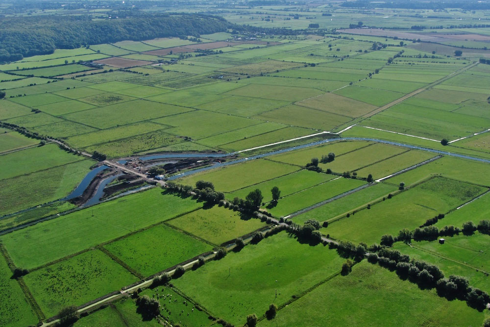 An Aerial View Of Two New SRA-funded River Channels At Beer Wall Under The A372 Near Othery, Branching Off From The River Sowy And Langacre Rhyne.