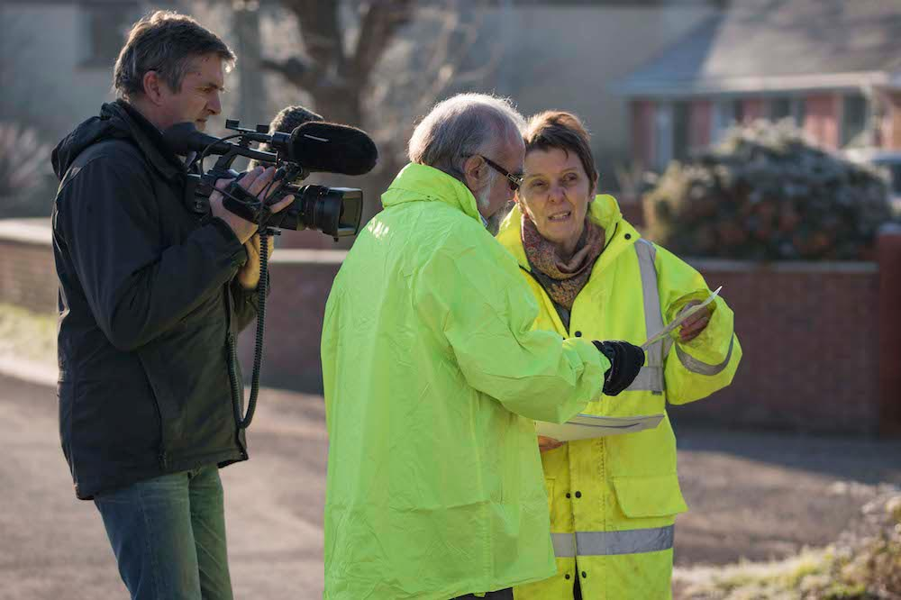 ITV Westcountry Reporter David Woodland Films Moorland Flood Wardens Ed Florey And Kate Symonds.