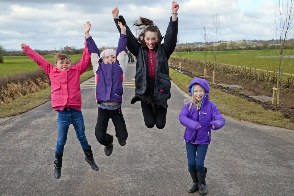 Local Children Jump For Joy At Official Opening Of Muchelney Raised Road.