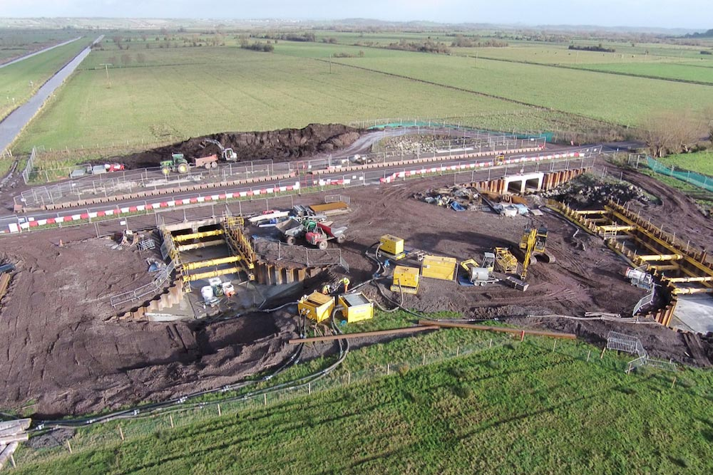 Excavators, Dumper Trucks And Other Machinery At Beer Wall, Preparing The Ground For Two New River Channels To Go Through New Culverts Under The A372.