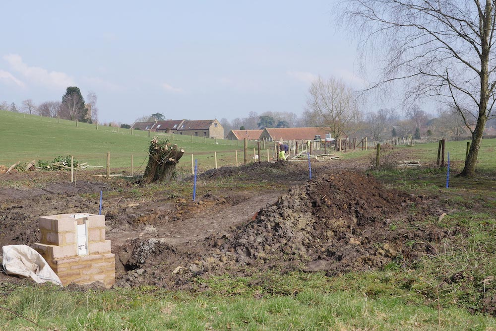 Natural Flood Management Work In Progress In The Meeds Valley Just Above Abbey Farm On The Edge Of Montacute.