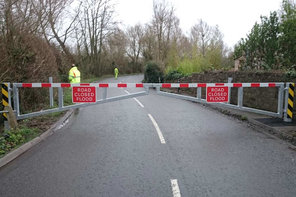Flood Closure Gates Closed Across Muchelney Road In Huish Episcopi
