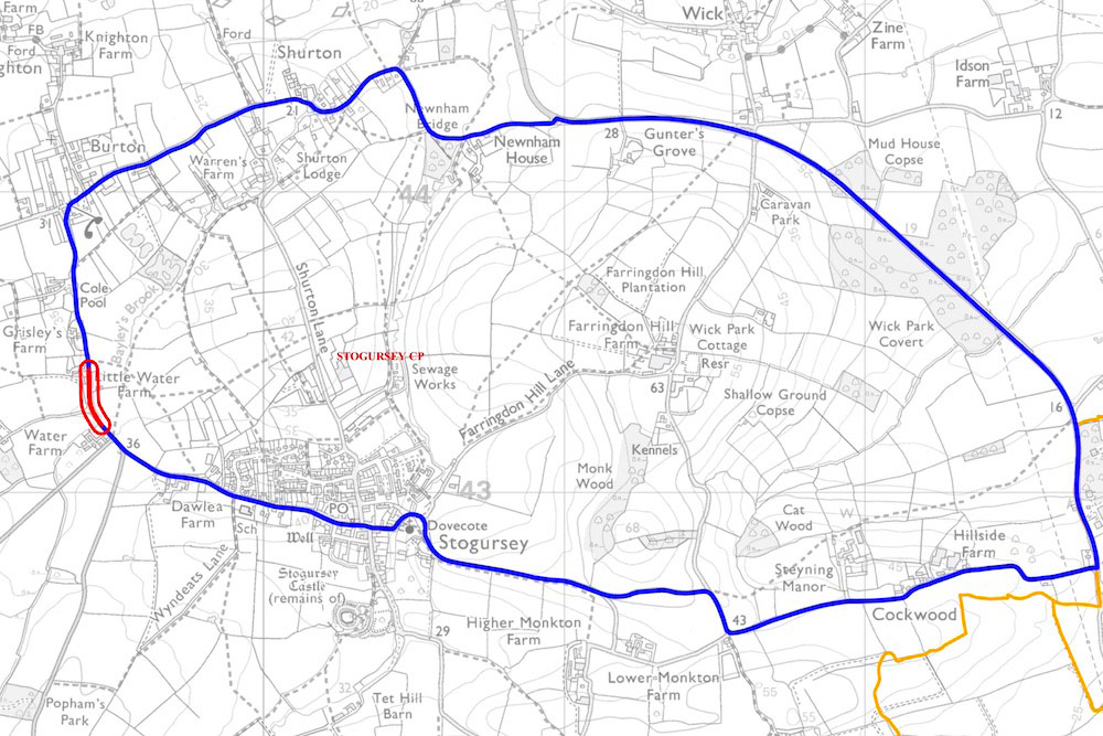 Map showing site of Water Lane drainage improvement works and necessary traffic diversion route