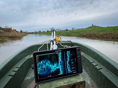 Computer screen on boat on River Parrett showing graphical image from surveying.