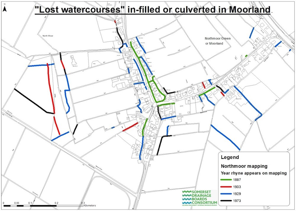 Map showing where watercourses in the village of Moorland have been filled-in or culverted.