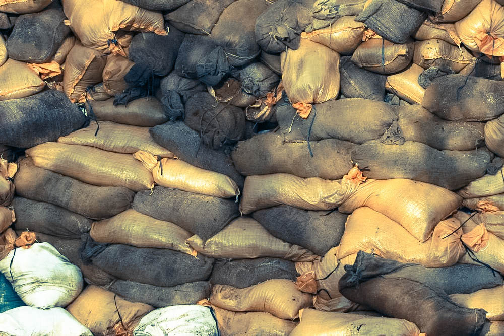 A Wall Of Sandbags Put Up During The Somerset Floods Of 2014