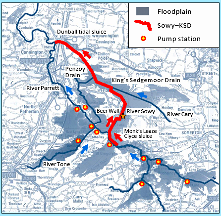 Map showing course of River Sowy and King's Sedgemoor Drain