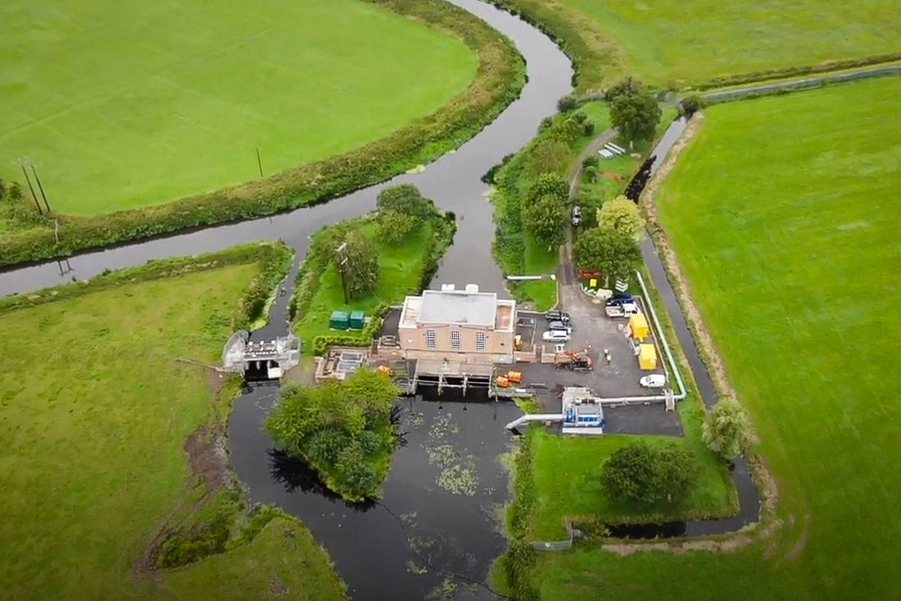 North Drain Pumping Station Seen High Up From A Drone In Its Strategically Important Position Between North Drain And The River Brue.