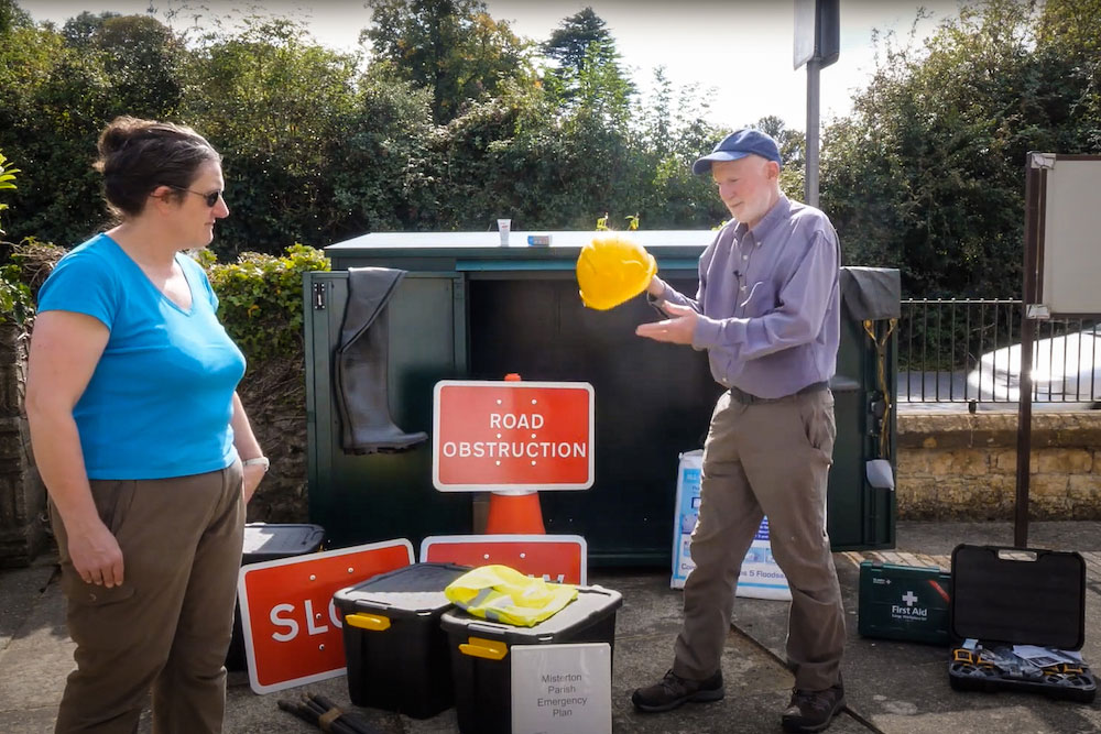 Two volunteers in Misterton with a lot of useful equipment bought with a Somerset Prepared grant funded by Somerset Rivers Authority.