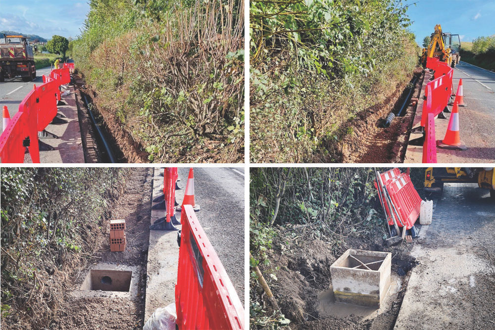Four Pictures Of Drainage Improvements Including New Pipes And Gully Pots Along The Side Of The A39 Close To Carhampton.